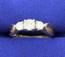 3 Diamond 14k Yellow Gold ring with 3/4 CTW!