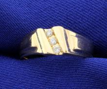 3 diamond 14k yellow wedding band