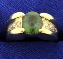 Diamond and Peridot Ring