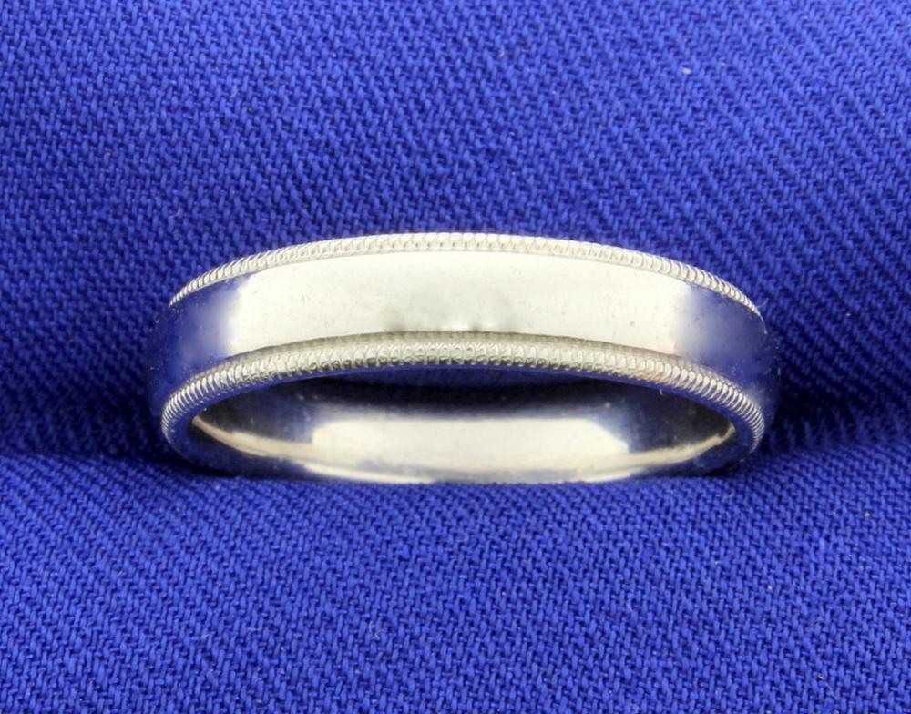 Scott Kay Designer Platinum Wedding Band Ring With Beaded Edge