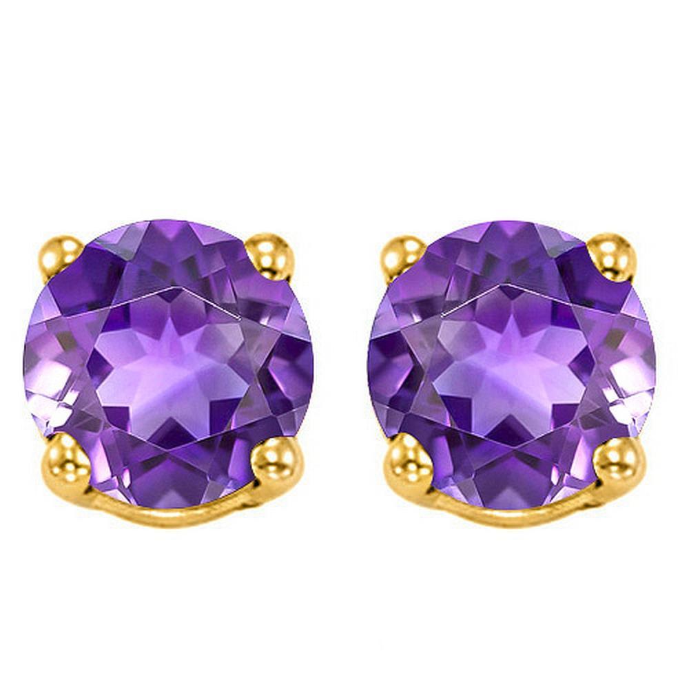6MM Amethyst Stud Earrings in 10k Yellow Gold