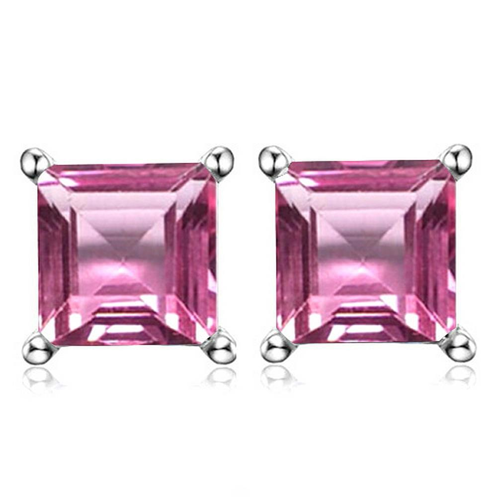 6MM Square Step Cut Lab Pink Sapphire Earrings in Sterling Silver