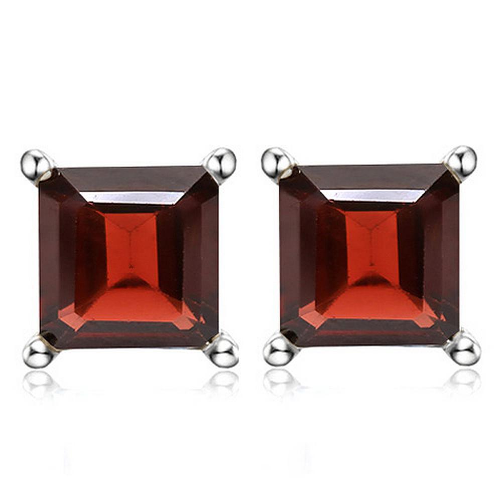 6MM Square Step Cut Garnet Stud Earrings in Sterling Silver
