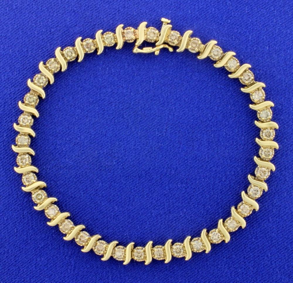 3ct TW Champagne Diamond Tennis Bracelet in 14k Yellow Gold