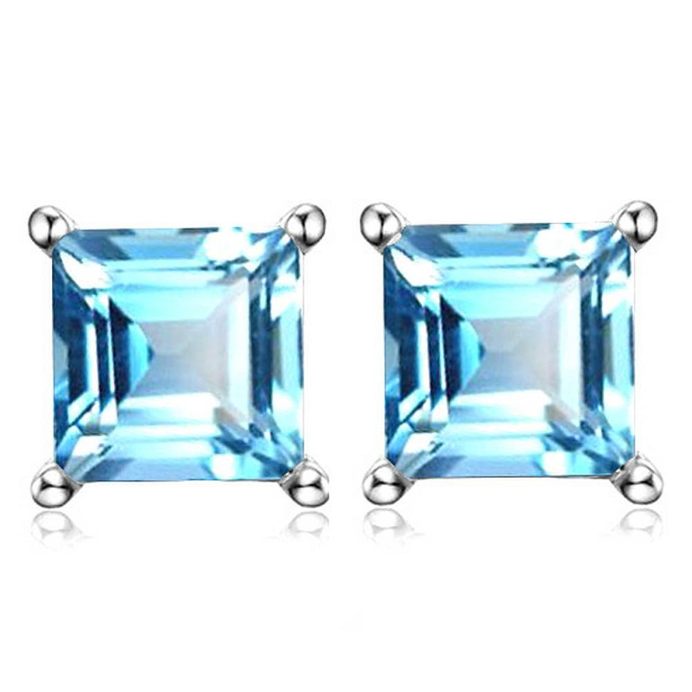 6MM Square Step Cut Natural Sky Blue Topaz Stud Earrings in Sterling Silver