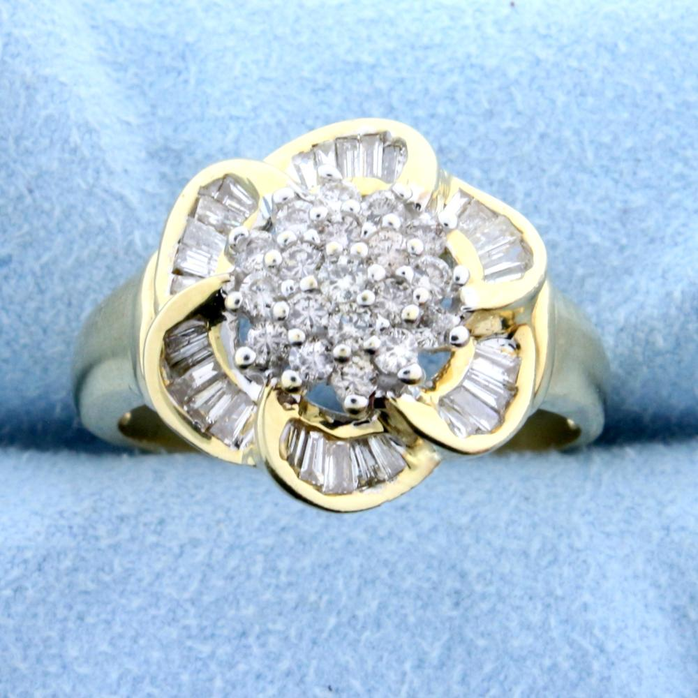 Over 2ct TW Diamond Flower Design Ring in 14k Yellow and White Gold