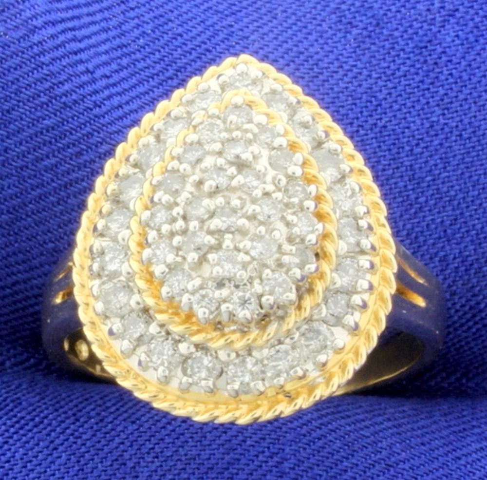 1.1 Ct TW Diamond Pear Shaped Ring in 10k Yellow Gold
