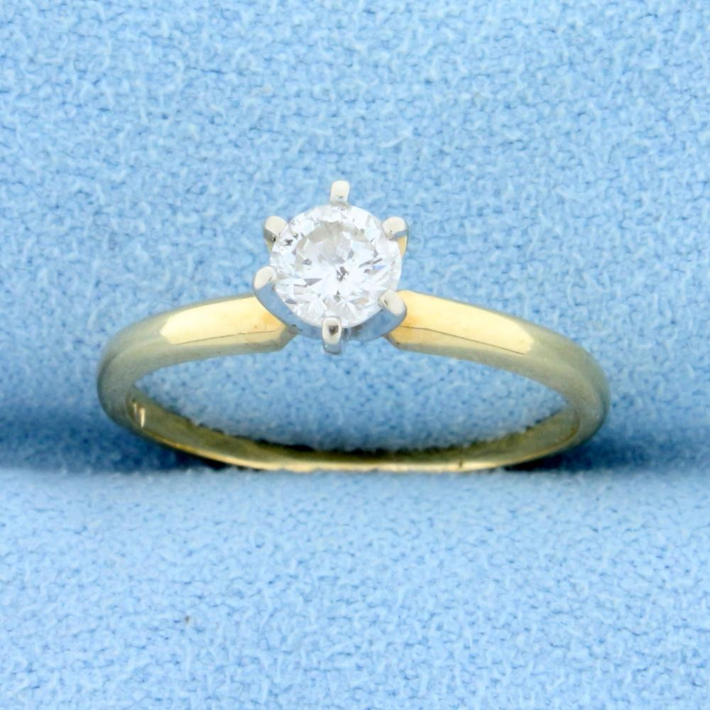 .3ct Solitaire Diamond Engagement Ring  in 14k Yellow and White Gold