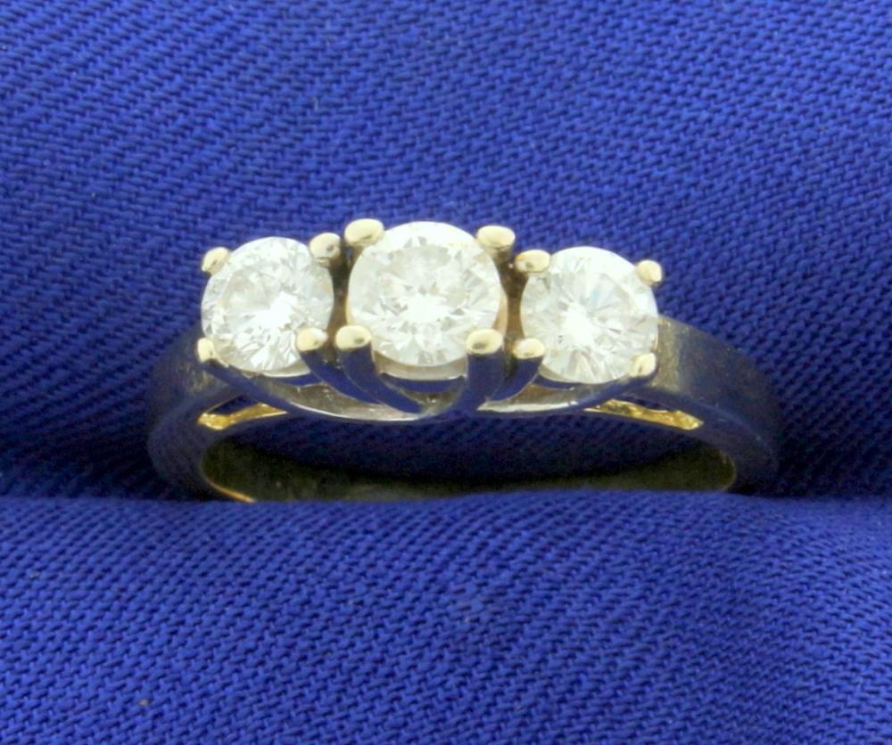 1ct TW Three Stone Diamond Anniversary or Wedding Ring in 14k Yellow and White Gold