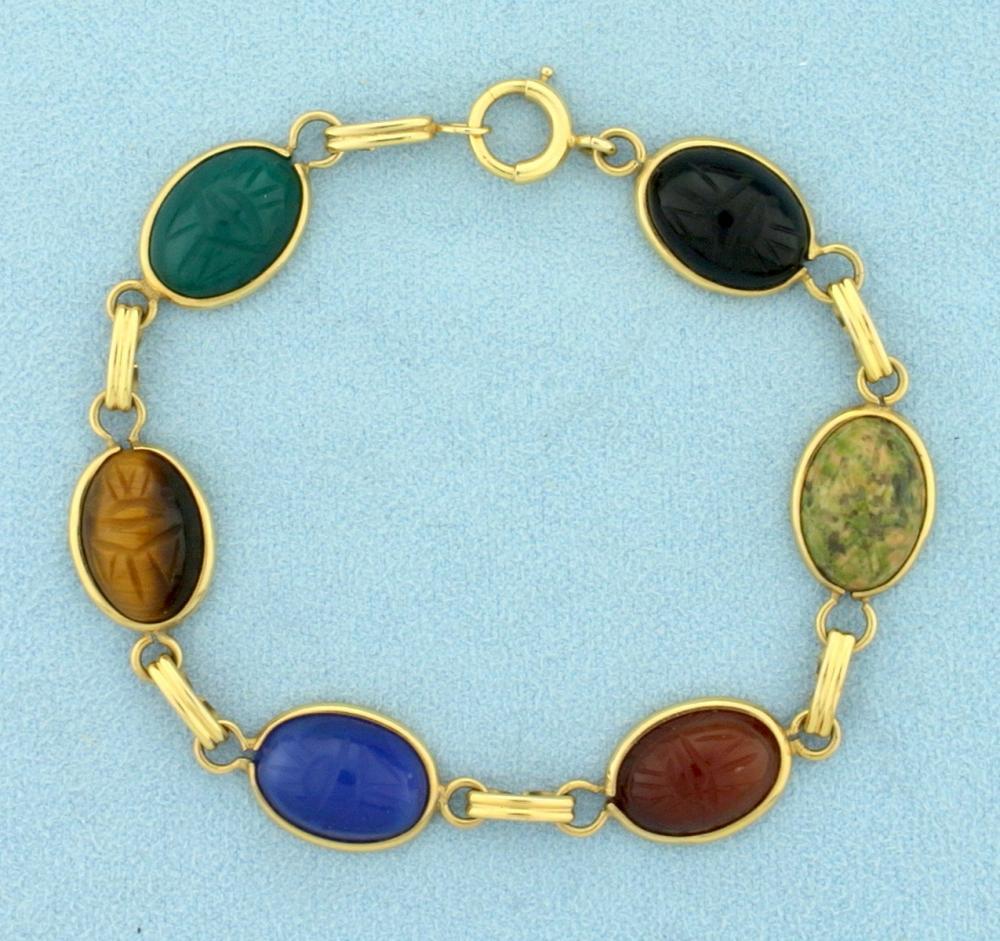 Vintage Scarab Bracelet in 14k Yellow Gold