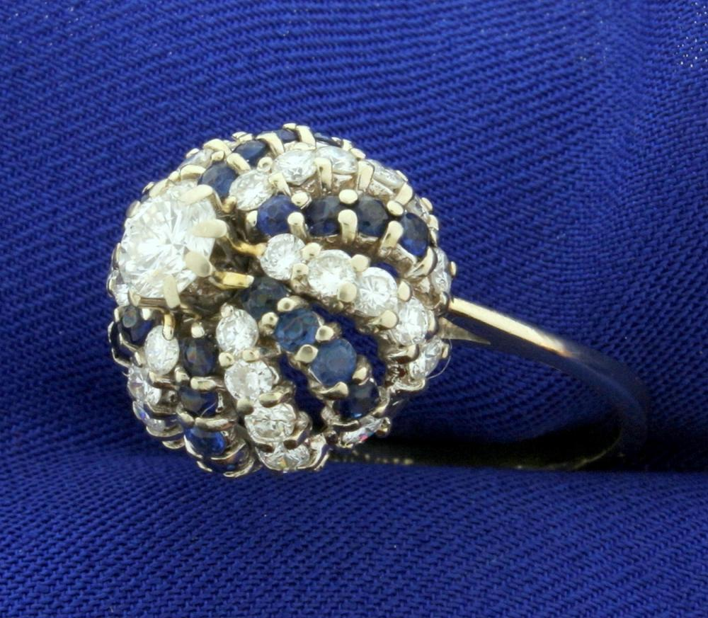 2 1/2ct TW Diamond and Sapphire Ring in 14k White Gold