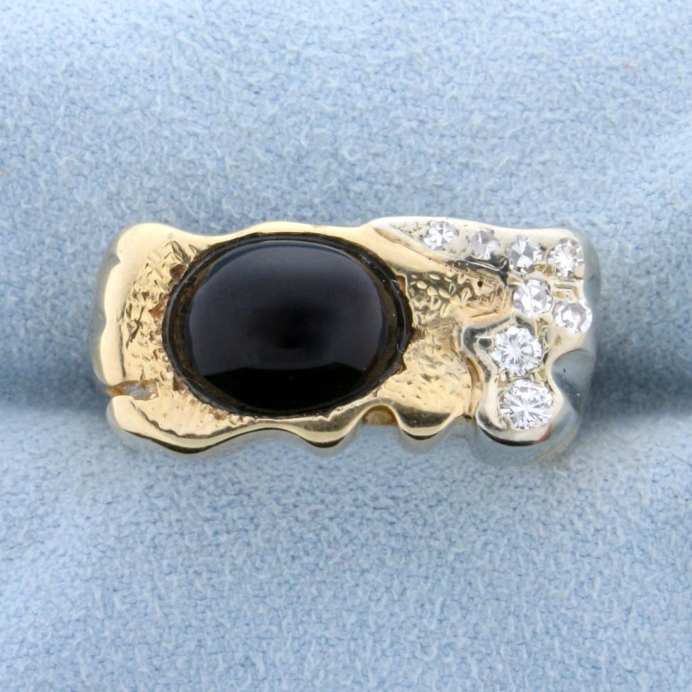 Large Cabochon Onyx and Diamond Ring in 14k Gold