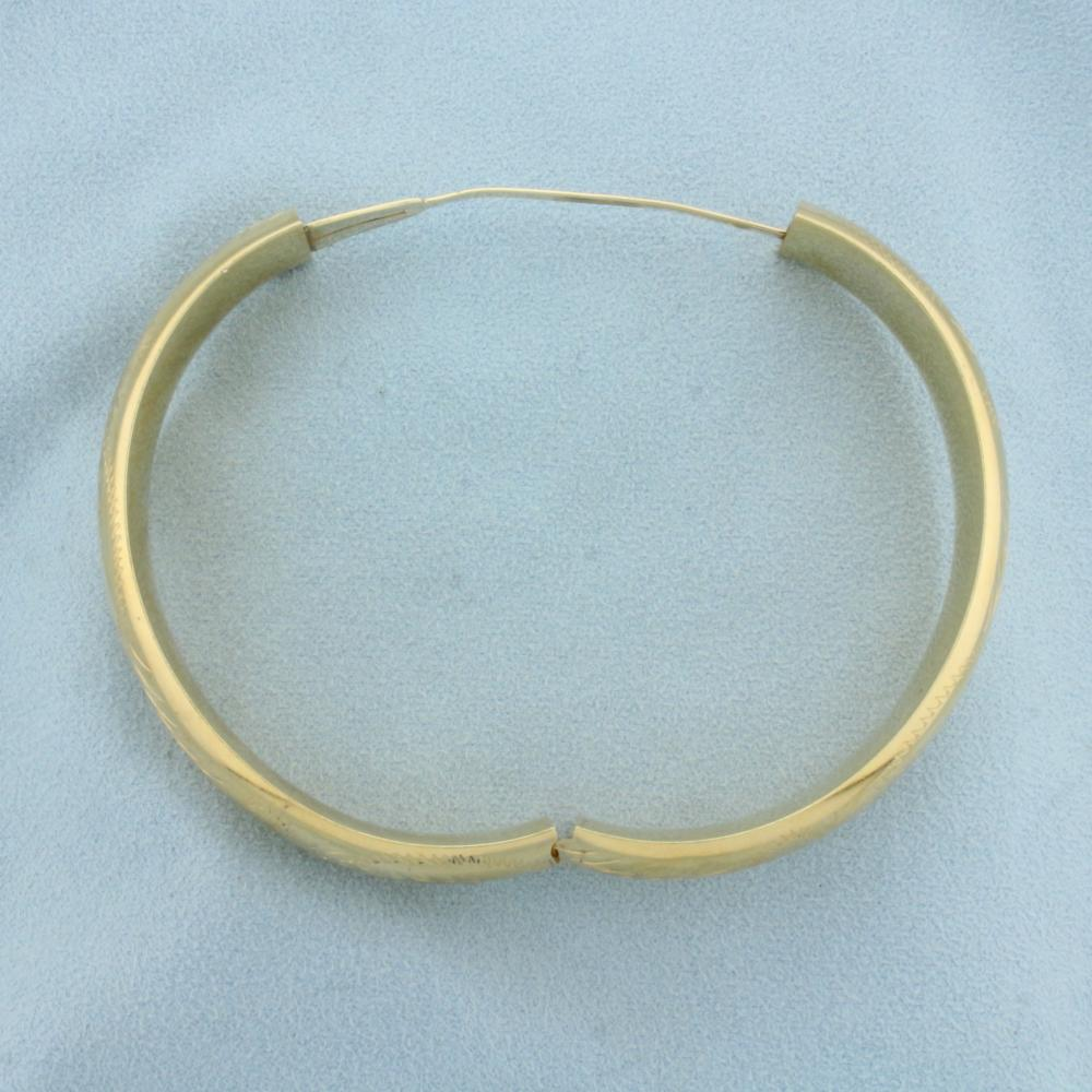 10k Yellow Gold Etched Vintage Bangle Bracelet