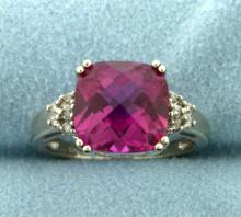 6ct Pink Topaz and Diamond White Gold Ring