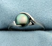 Tahitian Pearl Ring in 14K White Gold