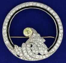 Antique Platinum Diamond Brooch Pin