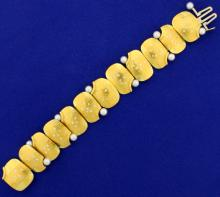 Betsy Fuller Designer Diamond and Pearl Bracelet