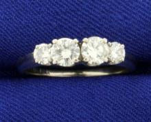 1ct TW Four Diamond Ring in 14K White Gold