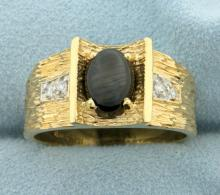 Men's Black Star Sapphire and Diamond Ring in 14K Yellow Gold