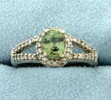 1ct Peridot and Diamond Ring in White Gold