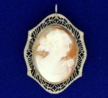 Cameo Pin or Pendant in White Gold