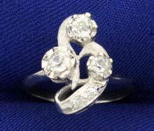 Antique 1/2ct TW Old European Cut Diamond Ring in 14K White Gold