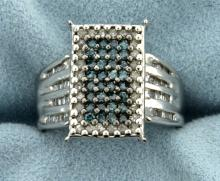 1ct TW Blue and White Diamond Ring in 10K White Gold