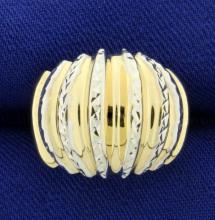 Designer Yellow and White Gold Dome Ring