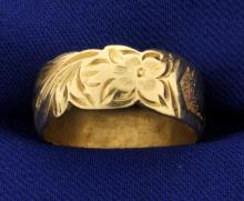 Vintage Flower Heart Band Ring