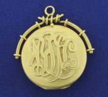 Vintage Monogrammed Locket Pendant in 14K Yellow Gold