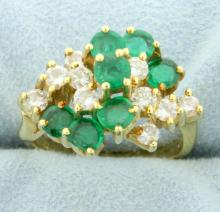 18k Natural Emerald & Diamond Ring