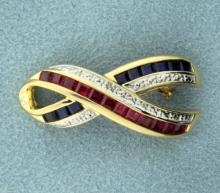 Ruby and Sapphire Pin in 14K Yellow Gold