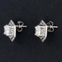 Lot 1004: Unique 1.6ct TW Diamond Earrings in 14k White Gold