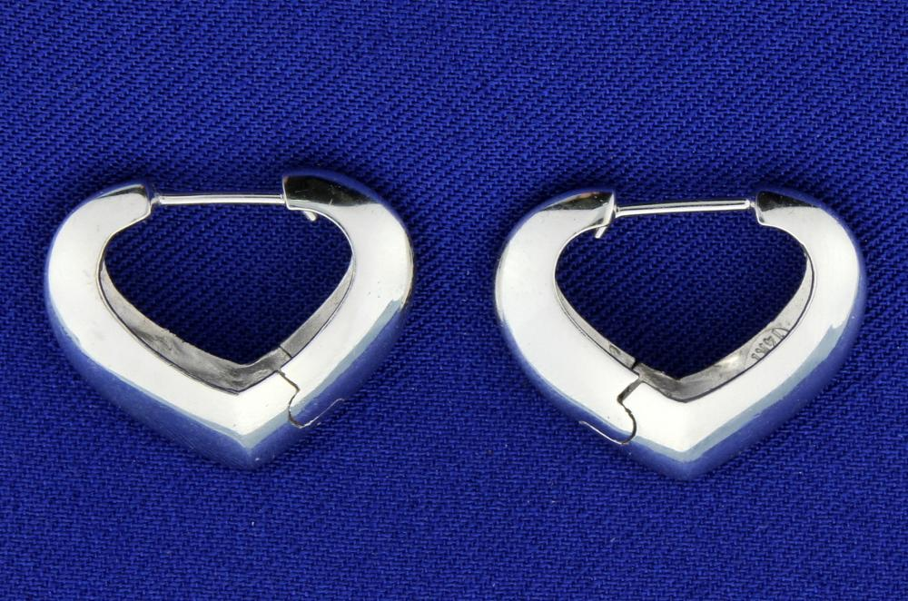 Lot 1726: Italian Made 14k White Gold Heart Hoop Earrings