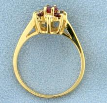 Lot 1913: Natural Ruby and Diamond Ring in 14k Yellow Gold