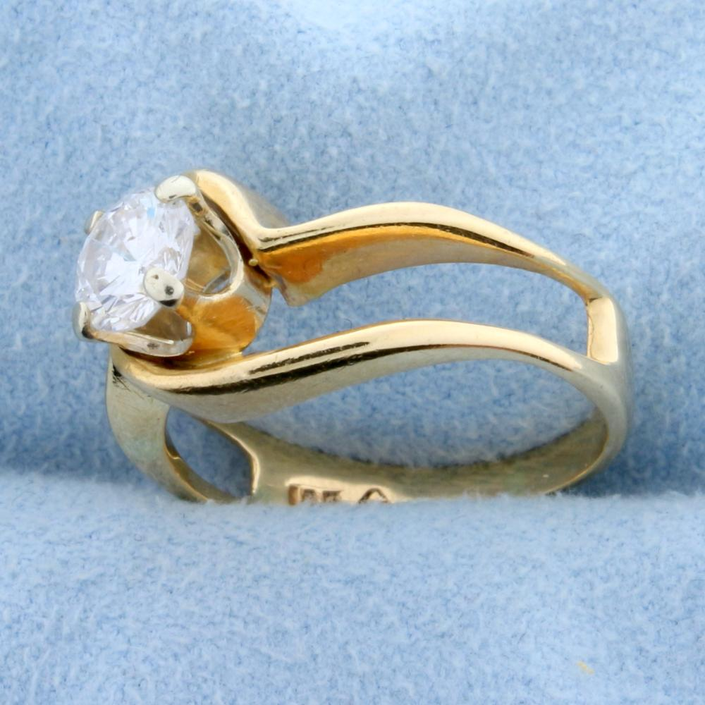 Lot 2124: Diamond Solitaire .80 Ct Engagement Ring in 14k Yellow Gold