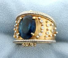 Lot 3659: Designer Dallas Prince London Blue Topaz and Diamond Ring in 14k Gold