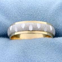 Lot 3436: Unique White and Yellow 14k Gold Diamond Cut Wedding Band Ring