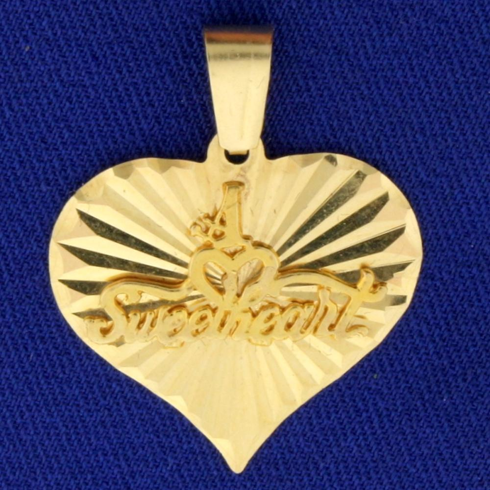 #1 Sweetheart Pendant in 14k Yellow Gold
