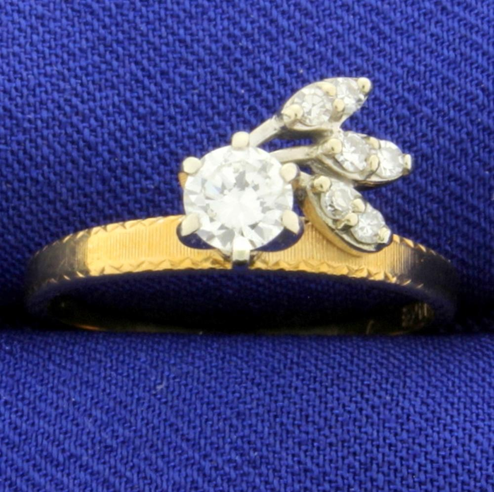 Lot 4107: Vintage 1/2 ct Diamond Ring in Unique Setting in 14k Gold