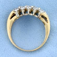 Lot 4144: 2.2 ct TW High Quality Cluster Diamond Ring in 14k Yellow Gold