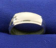 Lot 4232: Diamond Solitaire Band Ring in 14K White Gold