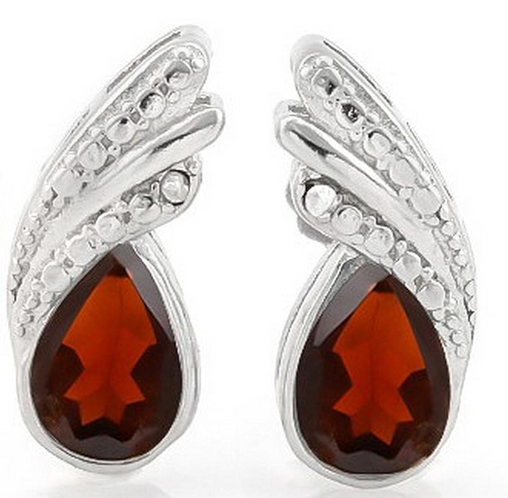 Pear Cut Garnet and Diamond Earrings in Sterling Silver