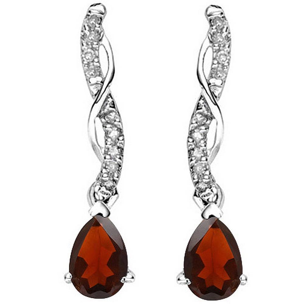 Pear Cut Garnet and Diamond Dangle Earrings in Sterling Silver
