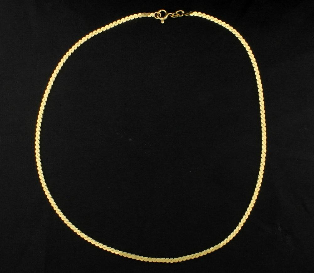 18K Yellow Gold Flat S Link Neck Chain