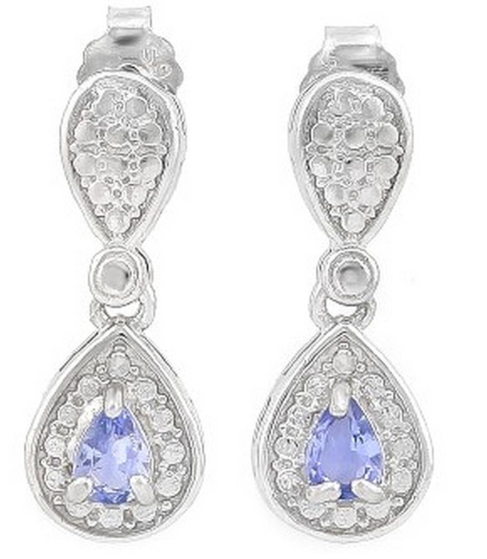 Pear Cut Tanzanite Dangle Earrings in Sterling Silver
