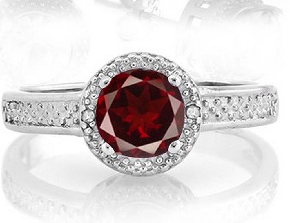 Garnet Halo Style Ring in Sterling Silver