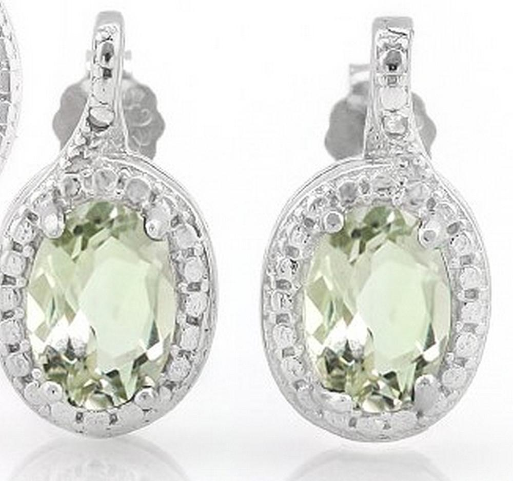 Green Amethyst and Diamond Earrings in Sterling Silver