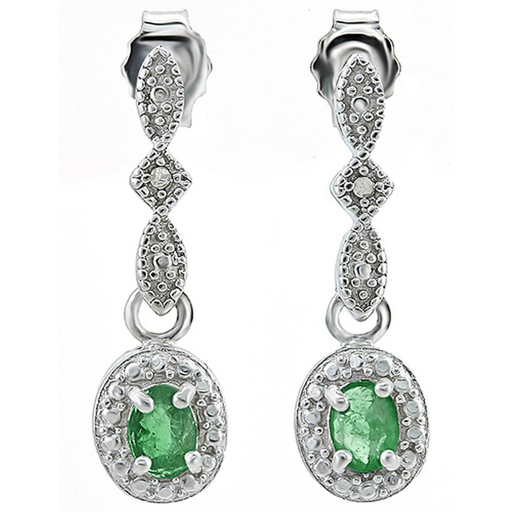 Vintage Style Emerald and Diamond Milgrain Dangle Earrings in Sterling Silver