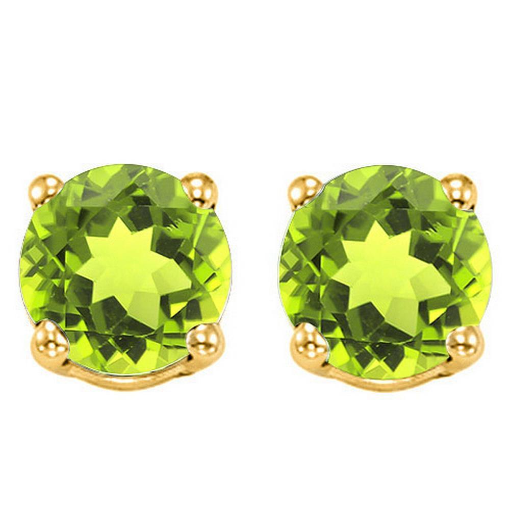 6MM Peridot Stud Earrings in 10k Yellow Gold